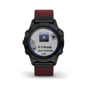 Garmin fenix 6 Sapphire - Black DLC with Heathered Red Nylon Band (1)