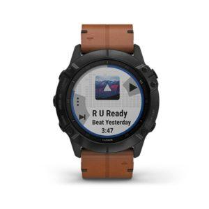 Garmin fenix 6X Sapphire - Black DLC with Chestnut Leather Band (1)