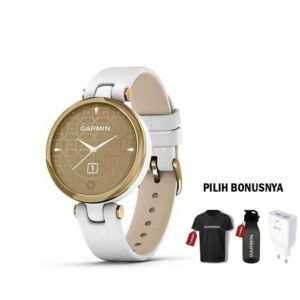 Garmin Lily Gold White Leather Band
